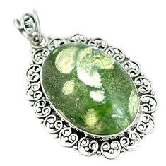 Clearance Sale- Natural green rainforest rhyolite jasper 925 silver pendant jewelry d28799