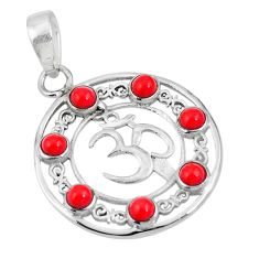 Clearance Sale- Red coral round 925 sterling silver om symbol pendant jewelry d28801