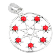 925 sterling silver red coral round shape pendant jewelry d28804