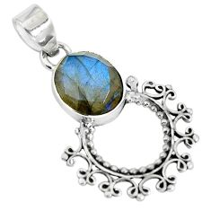 Natural blue labradorite 925 sterling silver pendant jewelry d28811