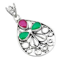 Clearance Sale- Red ruby quartz emerald quartz 925 sterling silver pendant jewelry d28812