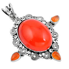 Clearance Sale- Natural orange cornelian (carnelian) 925 sterling silver pendant d28841