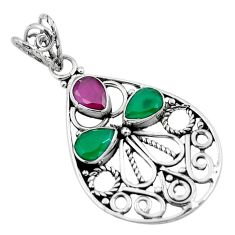 Clearance Sale- Red ruby green emerald quartz 925 sterling silver pendant jewelry d28845