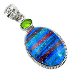 Clearance Sale- Natural multi color rainbow calsilica peridot 925 silver pendant d28848