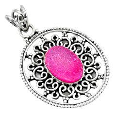 Clearance Sale- 925 sterling silver pink druzy oval shape pendant jewelry d28851