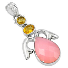 Clearance Sale- Natural pink rose quartz yellow citrine 925 sterling silver pendant d28853