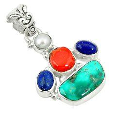Clearance Sale- Natural green turquoise tibetan lapis lazuli pearl 925 silver pendant d2984