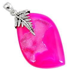 Clearance Sale- 925 sterling silver pink druzy fancy shape pendant jewelry d30366