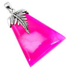 Clearance Sale- Pink druzy fancy shape 925 sterling silver pendant jewelry d30368