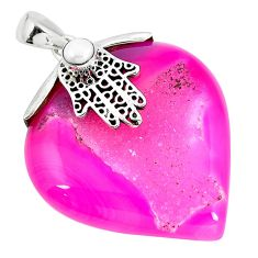 Clearance Sale- Pink druzy white pearl 925 sterling silver hand of god hamsa pendant d30369