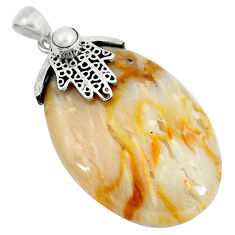 Clearance Sale- Natural brown picture jasper 925 silver hand of god hamsa pendant d30381