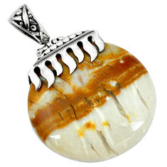 Clearance Sale- 925 sterling silver natural brown picture jasper pendant jewelry d30384