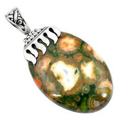 Natural green rainforest rhyolite jasper 925 silver pendant d30386