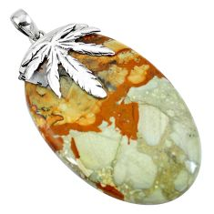925 sterling silver natural brown picture jasper oval pendant jewelry d30388