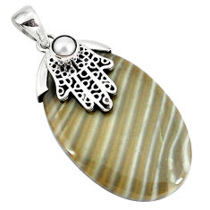 Clearance Sale- Natural brown striped flint ohio white pearl 925 silver pendant d30393