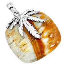 Natural brown picture jasper 925 sterling silver pendant jewelry d30395