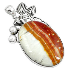Clearance Sale- Natural brown picture jasper pearl 925 sterling silver pendant d30396
