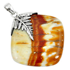 Clearance Sale- Natural brown picture jasper 925 sterling silver pendant jewelry d30406