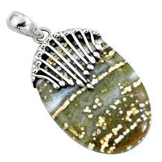 Natural green ocean sea jasper (madagascar) 925 silver pendant d30411
