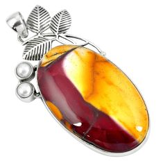 Clearance Sale- 925 silver natural brown mookaite pearl deltoid leaf pendant jewelry d30425