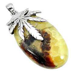 Natural brown septarian gonads 925 sterling silver pendant jewelry d30430