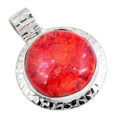 Natural red sponge coral 925 sterling silver pendant jewelry d30434