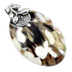 Natural brown peanut petrified wood fossil 925 silver pendant d30439