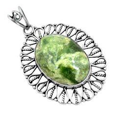 Clearance Sale- Natural green rainforest rhyolite jasper 925 silver pendant d30623