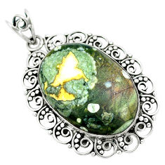 925 silver natural green rainforest rhyolite jasper pendant jewelry d30624