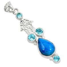 Clearance Sale- 925 silver natural blue apatite (madagascar) hand of god hamsa pendant d30644