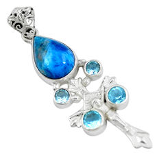 Clearance Sale- Natural blue apatite (madagascar) 925 silver holy cross pendant d30658