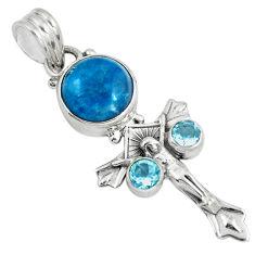Natural blue apatite (madagascar) 925 silver holy cross pendant d30660