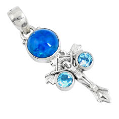 Clearance Sale- Natural blue apatite (madagascar) 925 silver holy cross pendant d30698