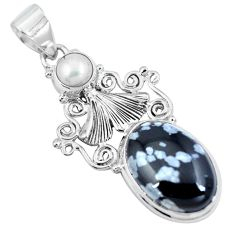 Clearance Sale- 925 silver natural black australian obsidian oval pearl pendant jewelry d30706