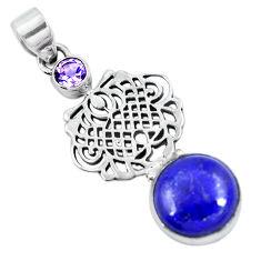 Clearance Sale- Natural blue lapis lazuli amethyst 925 sterling silver pendant d30710