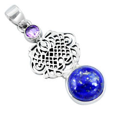 Clearance Sale- Natural blue lapis lazuli amethyst 925 sterling silver pendant d30711