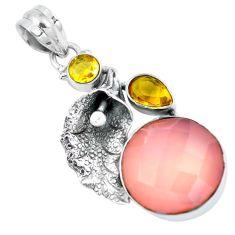 Clearance Sale- Natural pink rose quartz citrine 925 silver deltoid leaf pendant d30713