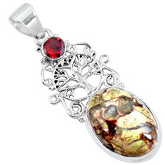 Clearance Sale- Natural brown mushroom rhyolite 925 silver tree of life pendant d30717