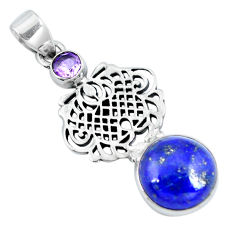 Clearance Sale- Natural blue lapis lazuli amethyst 925 sterling silver pendant d30737