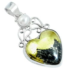 Natural pyrite in magnetite (healer's gold) 925 silver heart pendant d30743