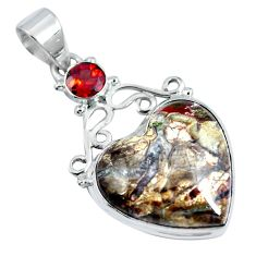 Natural brown mushroom rhyolite garnet 925 silver heart pendant d30744