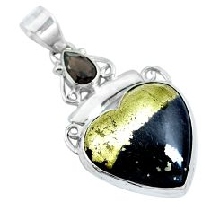 Natural pyrite in magnetite (healer's gold) heart 925 silver pendant d30747