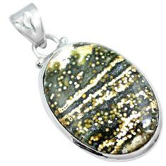 925 silver natural green ocean sea jasper (madagascar) oval pendant d30749