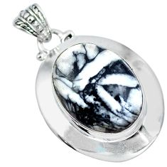 Natural white pinolith 925 sterling silver pendant jewelry d30750
