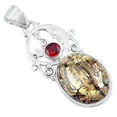 Natural brown mushroom rhyolite red garnet 925 silver pendant d30751