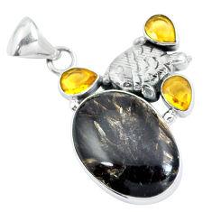 Natural golden seraphinite (russian) yellow citrine 925 silver pendant d30752