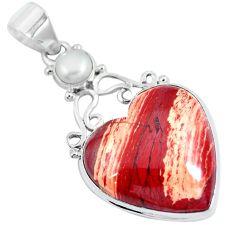 Natural brown snakeskin jasper heart pearl 925 sterling silver pendant d30753