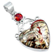 Natural brown mushroom rhyolite heart garnet 925 silver pendant d30756