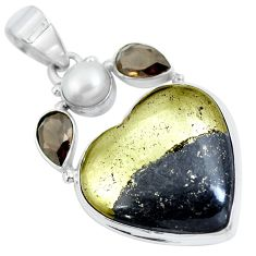 Natural pyrite in magnetite (healer's gold) heart 925 silver pendant d30758