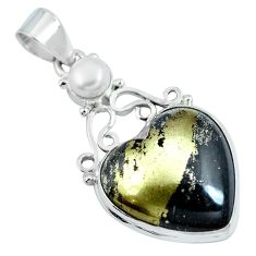 925 silver natural pyrite in magnetite (healer's gold) heart pendant d30759